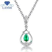 Elegant Design Solid 18K White Gold Natural Colombia Pear Emerald Pendant Necklace Genuine Gem Diamond Fine