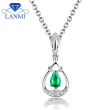 Elegant Design Solid 18K White Gold Natural Colombia Pear Emerald Pendant Necklace Genuine Gem Diamond Fine Jewelry for Women