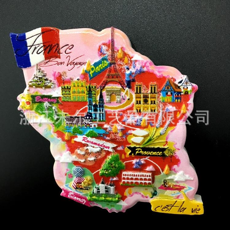French characteristics souvenir refrigerator stickers