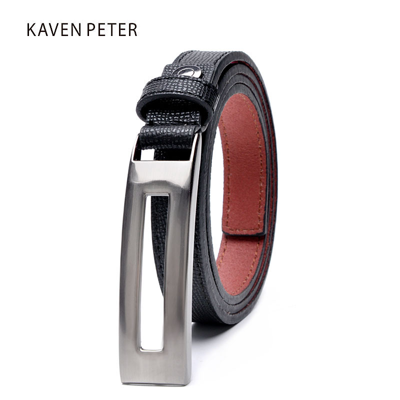 New Designer Women's Belts Genuine Leather Brand Straps Female Waistband Press Buckles Fancy Vintage for Jeans Black Color