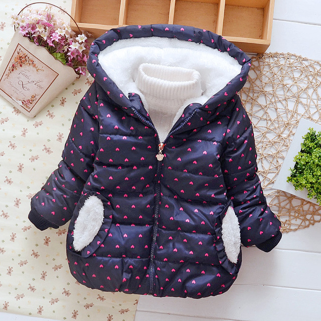 Girls Warm Outerwear Children Clothing Cute Cotton Winter Princess Jackets Fashion Baby Boys Hooded Jacket Kids Coat 1-5 Years