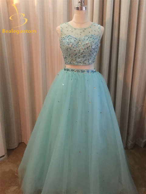5ba04fbab7 2018 New Two pieces Elegant Quinceanera Dresses Ball Gown With Beading 15  Years Long Prom Debutante Gown Sweet 16 Dresses QA874