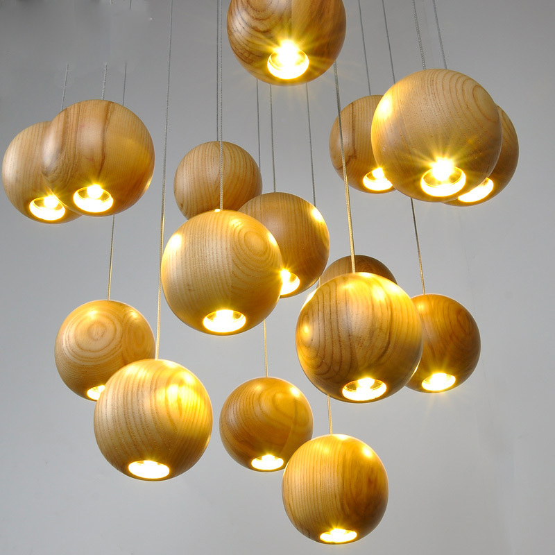 Solid OAK Wood Ball Led Chandelier Modern Japanese Nordic Creative Minimalist Living Dining Room Wood Wooden Pendant Lamp Light creative european country wood chandeliers artistic for living room decoration modern minimalist style wooden e27 pendant lamp