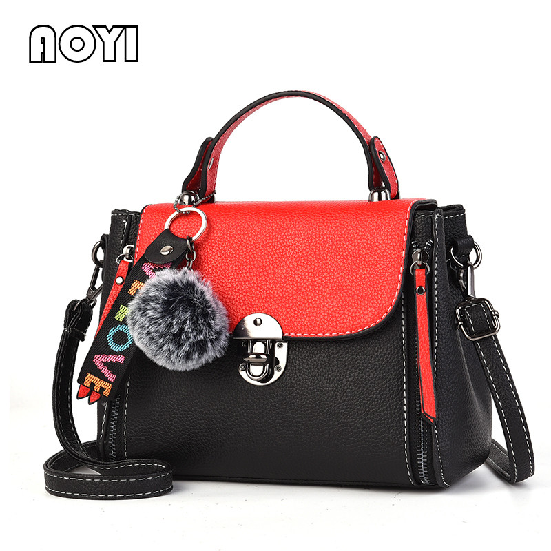 AOYI Women Flap Fashion PU Leather Shoulder Bag Women Crossbody Bag Female Messenger Bags Elegant Lady Handbag Patchwork Zipper