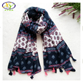 1PC 2016 Autumn New Design Flower Cotton Women Fashion Tassels Scarf  Woman New Cotton Viscose Tassels Long Pashminas