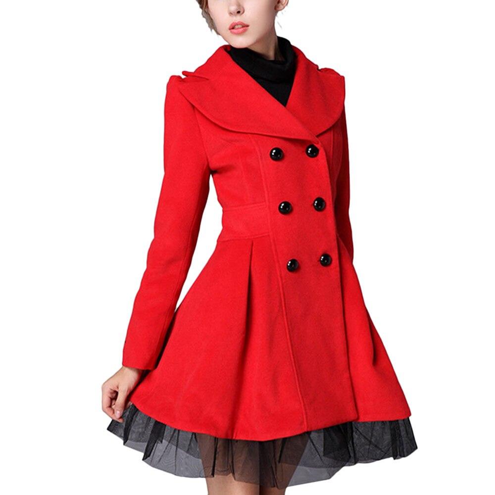 Autumn Winter 2016 Fashion Women Wool Blends Coats Double ...