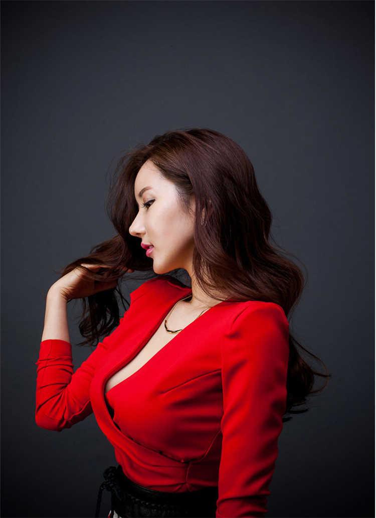 Новое женское Красное элегантное 2017 с длинным рукавом сексуальное тонкое облегающее платье осень мода v-образный вырез платья для вечеринок Халат