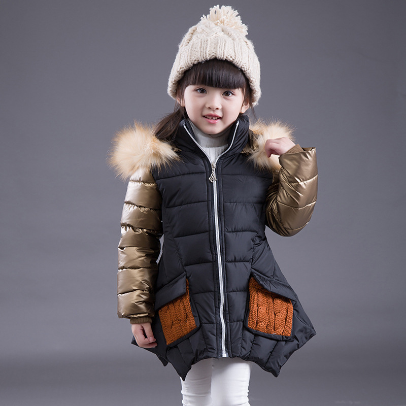 Kids Jacket Children  Outerwear Girls Winter Coat 2017 Fashion Hooded Thicken Warm Luxury Gold Color Fur Collar Cotton Clothes camkemsey warm corduroy winter coat women fur collar hooded jacket women casual pockets thicken cotton padded parkas overcoat