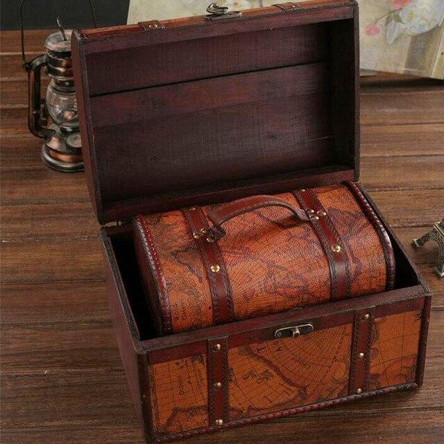3pcs Set Chic Wooden Pirate Jewellery Storage Box Case Holder Vintage Treasure Chest Decor Bo