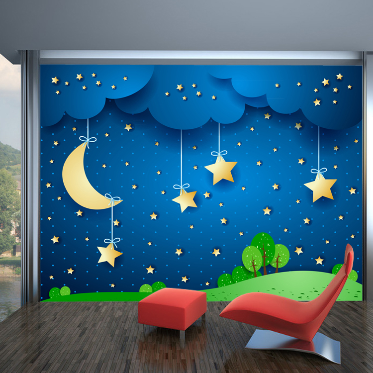 Aliexpress com   Buy Boys and girls children s room bedroom background  wallpaper   moon  stars blue sky wallpaper   a large mural wallpaper from  Reliable. Aliexpress com   Buy Boys and girls children s room bedroom