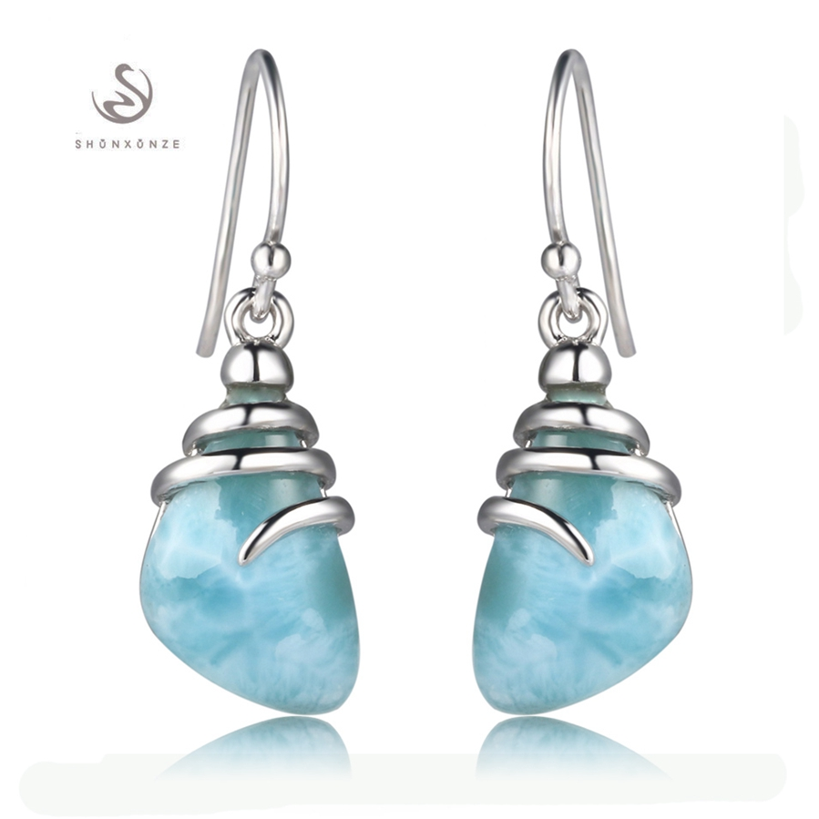 Eulonvan 925 sterling silver Larimar Earrings christmas gifts for women Jewelry & Accessories Explosion models aliexpress S-3804
