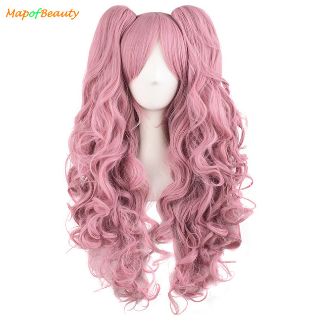 MapofBeauty Long Wavy Cosplay Wigs Pink Black Brown Blue White 19 Color 2 Ponytail Shape Claw Heat Resistant Synthetic Hair