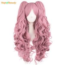 Mapofbeauty Lange Golvende Cosplay Pruiken Roze Zwart Bruin Blauw Wit 19 Kleur 2 Paardenstaart Vorm Klauw Hittebestendige Synthetisch Haar