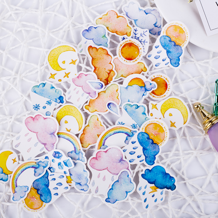 50pcs Watercolor Rainbow Cloud Weather Calendar Ice Crystal Snow Decoration Stationery Sticker Diy Ablum Scrapbooking Stationer