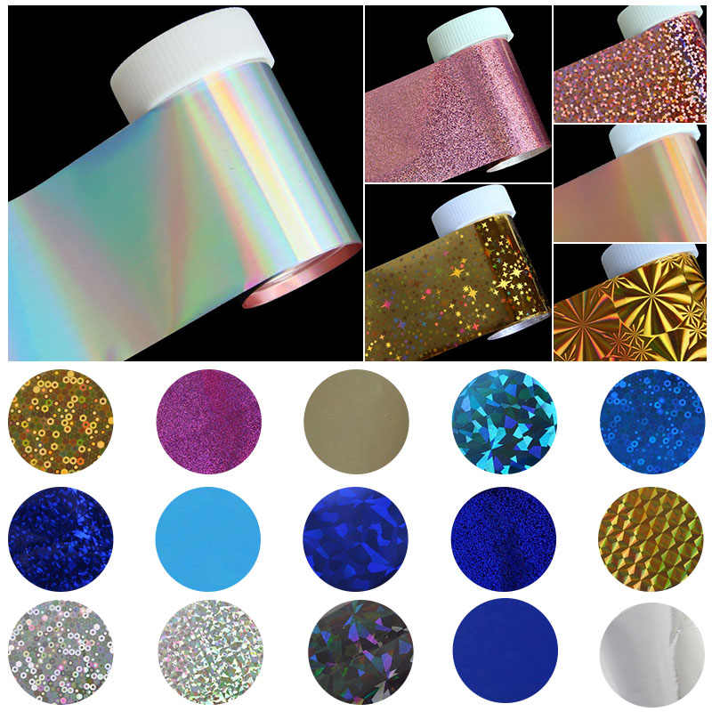 100*4 cm Holografische Nail Art Stickers Decals Wraps Nail Transfer Folie Manicure Gereedschap Groothandel Retail C141