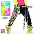 Moda Marca Crianças Adulto Moletom Trajes Borla neon cor patchwork harém calças femininas Harem Pants Hip Hop Calças De Dança