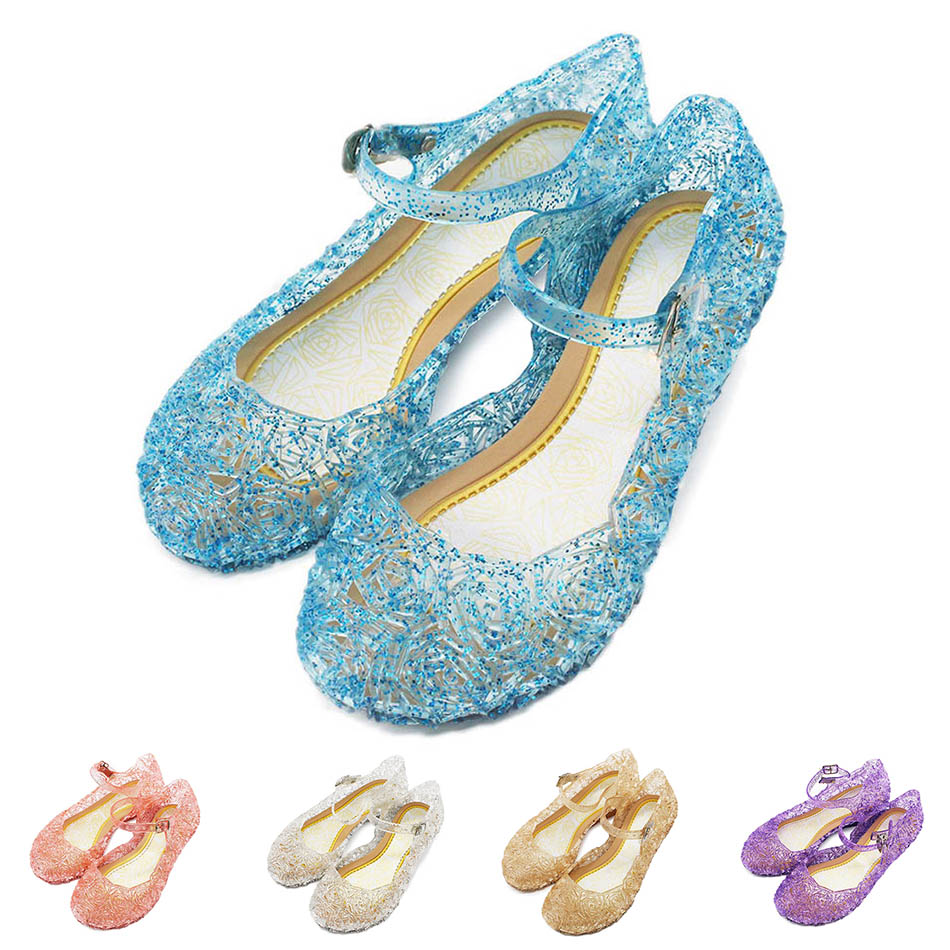 Girls Soft Leather Sandals Baby Kids Summer Crystal Shoes 5 Colors Princess Birthday Party Cosplay Accessories Children's Shoes