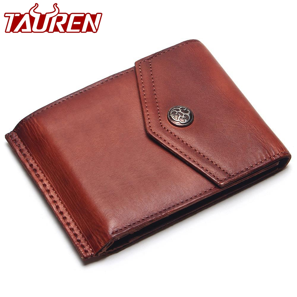 TAUREN Vintage 100% Genuine Leather Men Hasp Wallet Mens Retro Wallet Short Dull Red Color Change Purse Coin Purse baellerry small mens wallets vintage dull polish short dollar price male cards purse mini leather men wallet carteira masculina