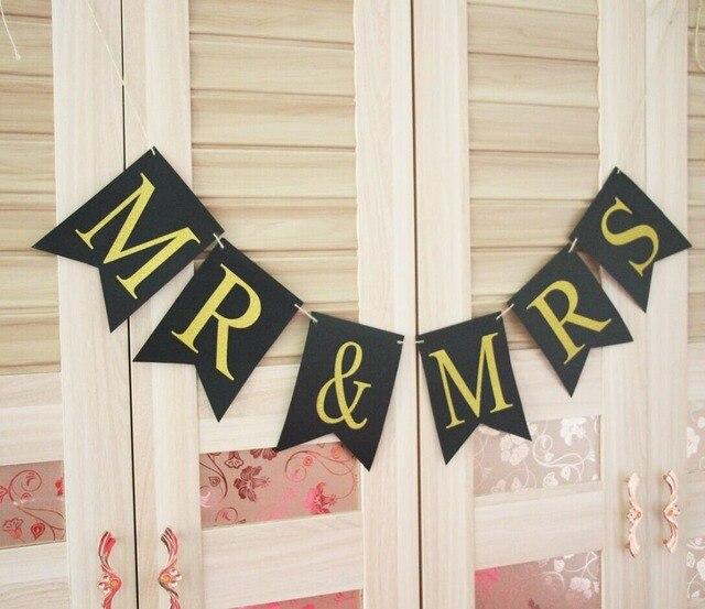 Black Gold Mr Mrswedding Photo Prop Bride And Groom Banner Vegas