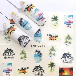 Image 4 - 1pc Water Nail Stickers Decal Marine Life Flamingo Leaf Transfer Nail Art Decorations Slider Manicure Watermark Foil Tips