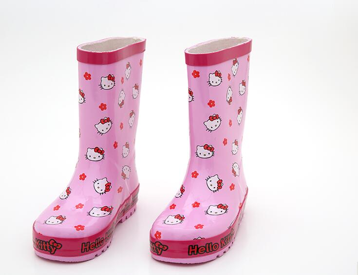 new arrival Girls Cartoon Rainboots, Baby Girl Pink Cat Rubber Rainboots Kids