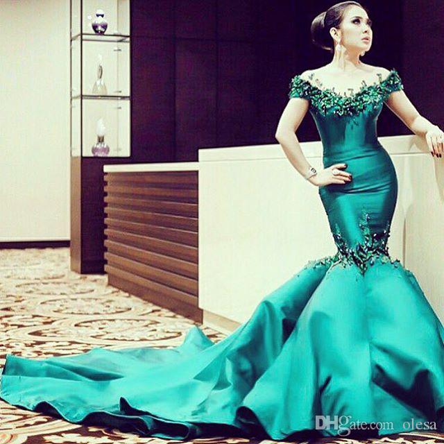672772a45d289 Dark Green Mermaid Evening Dress Long Prom 2017 Sleeveless Lace Appliques  Beaded Chapel Train Saudi Arabian Party Gowns Kaftan