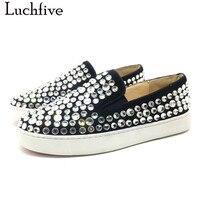 Luchfive 2018 Yeni bayanlar Ayakkabı bling bling kristal çivili tembel loafer'lar platformu düz topuklar rhinestone Ayakkabı Kadınlar üzerinde kayma