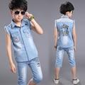 summer denim sets 2016 new boys suits 2pcs sleeveless turn-down collar cartoon shirt+knee-length jeans pants kids boy clothes