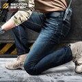2016 nova moda jeans mens biker zipper calça jeans masculina slim fit alta qualidade em linha reta calças jeans outono clássico jeans casual