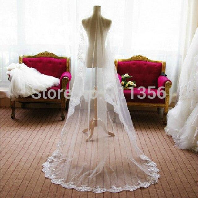 Long Wedding Veil White Train Lace Edge Bridal Veils Hair For Bride