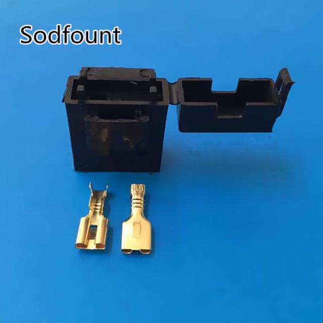 5pcs BX2017 Medium Car Fuse Holder With Terminal Car Insurance Socket Black Lighter Frontal
