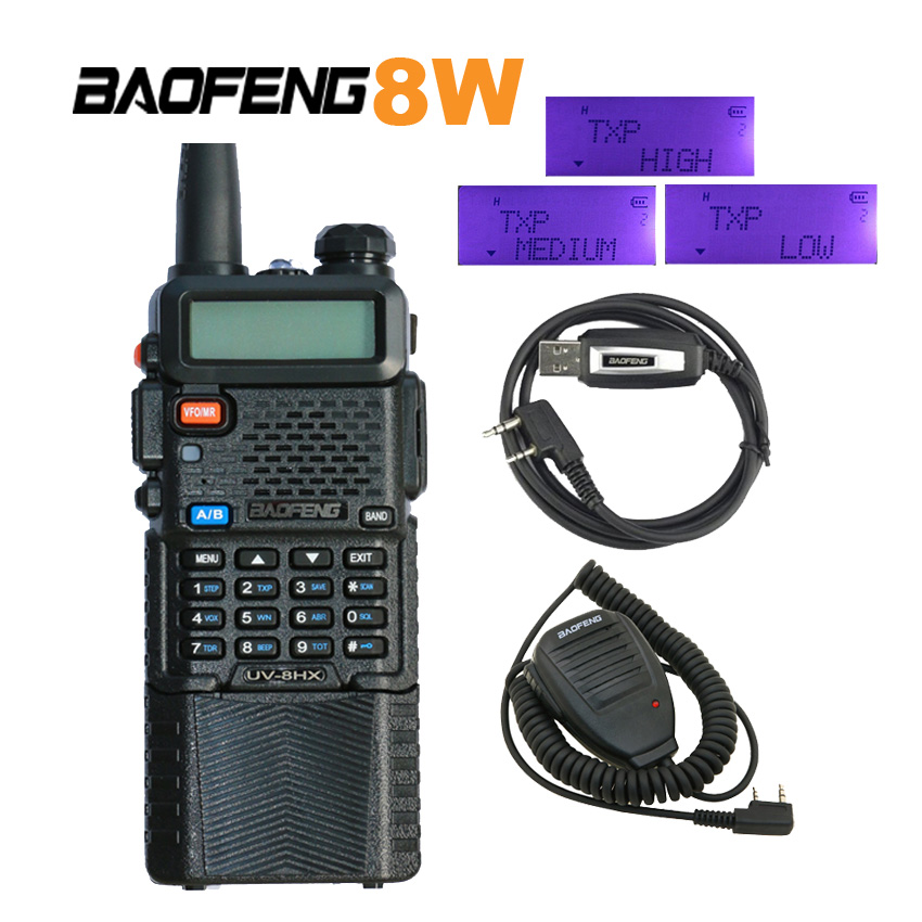 Baofeng UV-8HX 1/4/8 Watt Poweful Walkie Talkie Dual-Band 136-174 / 400-520 MHz Ham Tweeweg Radio UV 5R + mic-luidspreker + programmeerkabel