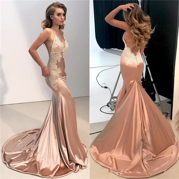 Sexy deep V Neck Backless appliques Lace   Prom     Dresses   2019 Mermaid Spaghetti Straps Long Evening Gowns Appliques   prom     dress