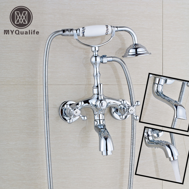 Bright Chrome Wall Mount Brass Tub Mixer Faucet Dual Handle Hot and Cold Water Tap Telephone Style + hand shower china sanitary ware chrome wall mount thermostatic water tap water saver thermostatic shower faucet
