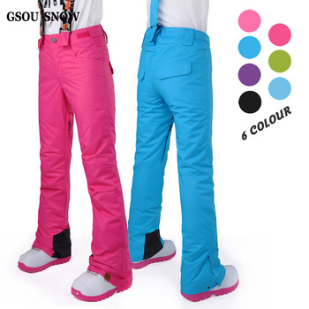 GSOU  SNOW NEW Hot Style ski pant Female Winter Ski Pants Waterproof Windproof Thickening to Keep Warm Snowboarding Pants