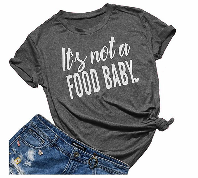 fc9a9292a ... women it s not a food baby funny t shirt cute mom shirt casual short ...