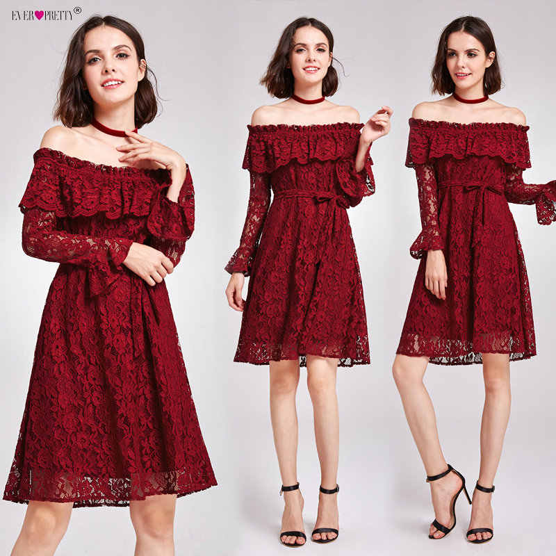 ... Ever Pretty Women Sexy Short Evening Dresses Lace Burgundy Long Sleeve  Autumn Winter Homecoming Party Evening ... f388163fa6a7