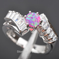Exclusive! Pink Fire Opal  White Cubic Zirconia  Silver Jewelry Women's Ring Size 7/8  Free Shipping   AR0707