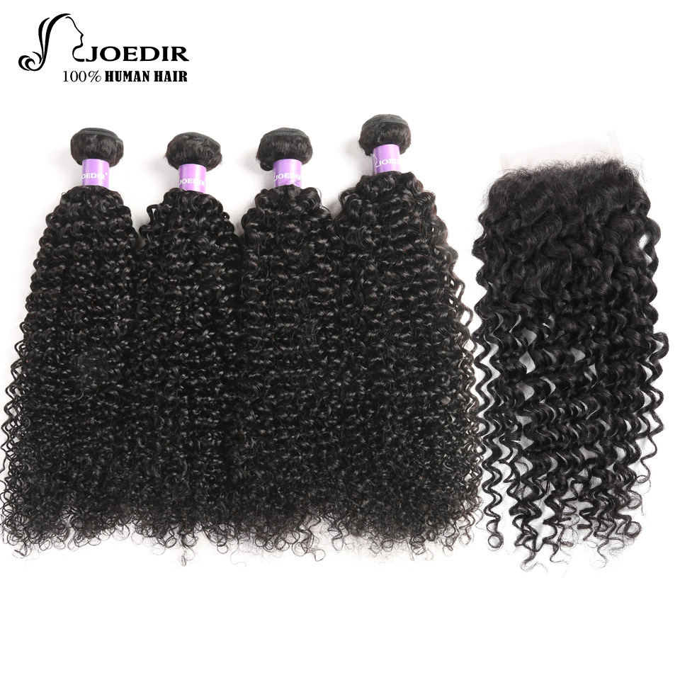 Joedir Hair 10 To 26 Inch 4 Bundles Natural Black Color Brazilian Kinky Curly Non-Remy With Ear To Ear Lace Closure