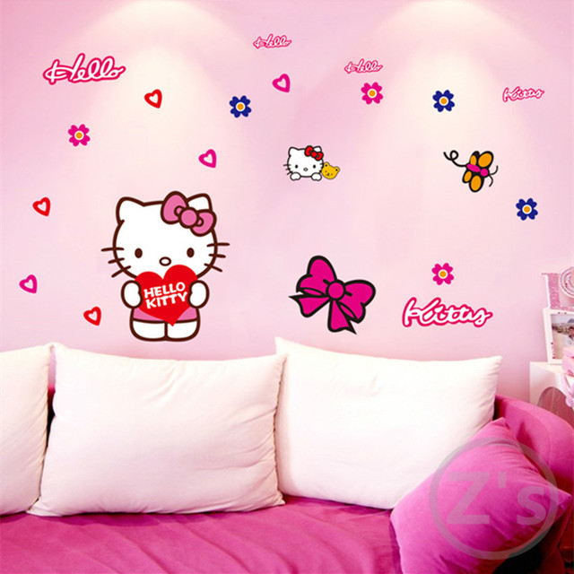 Zs Sticker Hello Kitty Wall Stickers Cartoon Wall Decal For Kids Room Vinyl  Children Room Decor