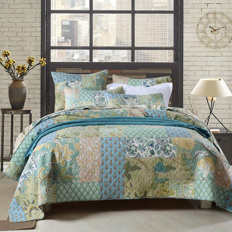 3pcs+ 234x269Cotton Bedspread Unique/Patchwork/Art/So So Soft Comforter Bedding set Queen Size Quilted Bedcover,Pillowcase*2