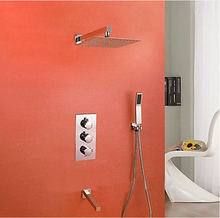 Freies Verschiffen Moderne Thermostat-brausebatterie Gesetzt 10 zoll Regen SUS 304 edelstahl duschkopf W/Handbrause IS056