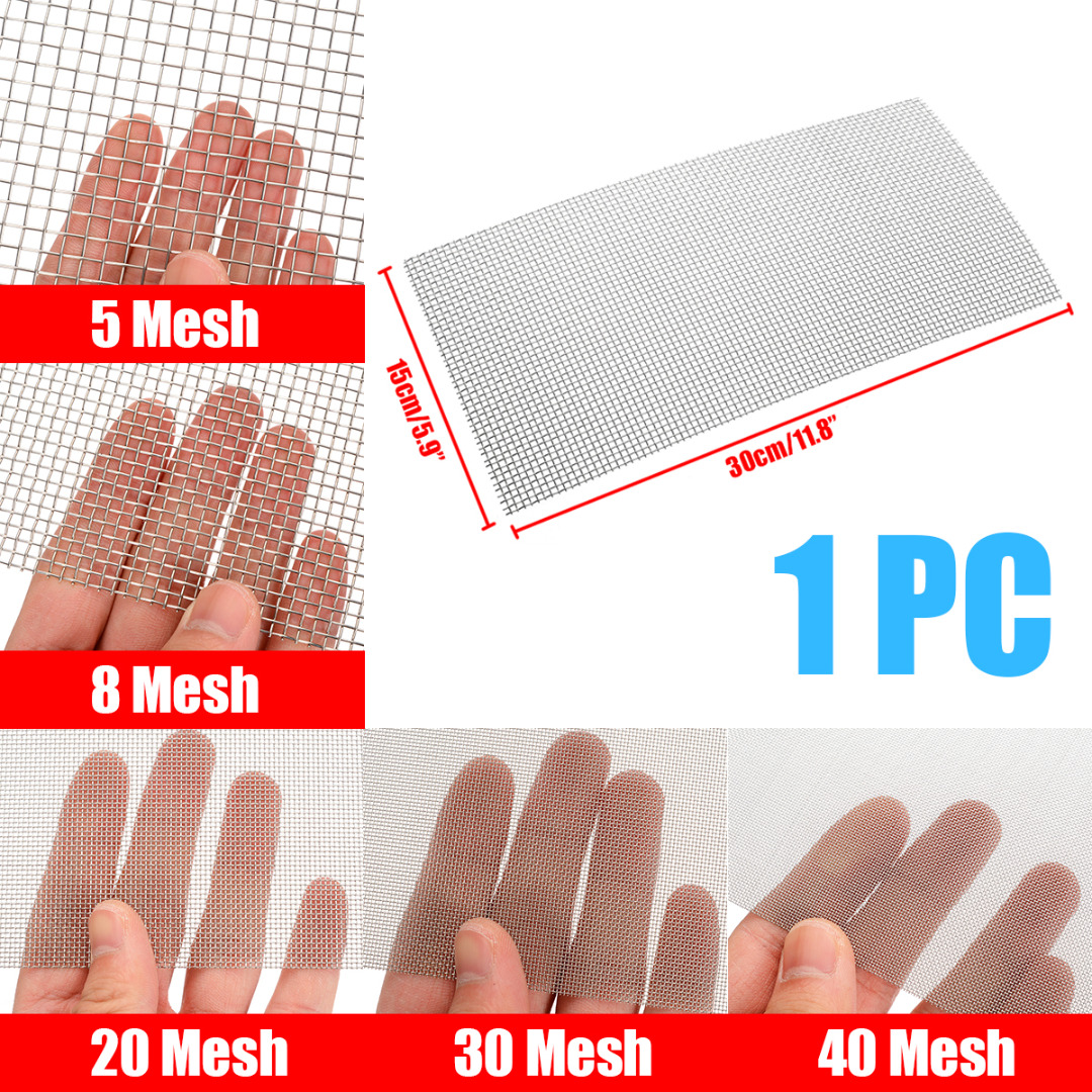 1Pcs Stainless Steel Woven Wire High Quality Screening Filter Sheet 5/8/20/30/40 Mesh 15cm X 30cm