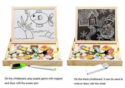 1 Set Menggambar Menulis Papan Puzzle Magnetic Double Easel Anak Mainan Kayu Sketsa Kecerdasan Anak Pengembangan Pendidikan Mainan