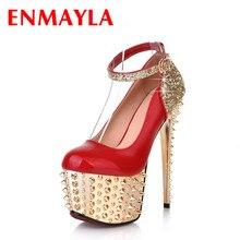 ENMAYLA Ultra-high Heels Pumps Rivets Ankle Strap Women Pumps Sexy Round Toe Platform Pumps Sparkle Party Shoes