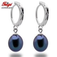 FEIGE Vintage Style 925 Sterling Silver Hoop Earrings For Women's 8 9mm Rice shaped Black Freshwater Pearl Jewelry