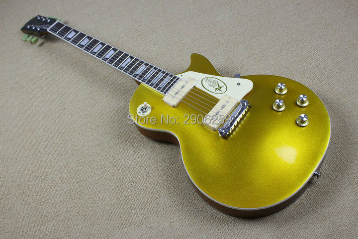 Custom Shop lp standard electric guitar '53 goldtop lp guitar P90 wax pickups one piece bridge ,real gutiar pics free shipping electric guitar musical instrument lp standard p90 hh pickups chrome parts no pickguard