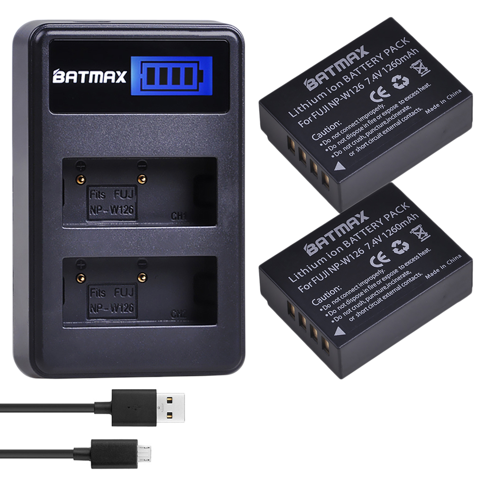 2Pcs 1260mAh NP-W126 NP W126 NPW126 Batteries&LCD Dual Charger For Fujifilm Fuji X-Pro1 XPro1 X-T1 XT1, HS30EXR HS33EXR X PRO1