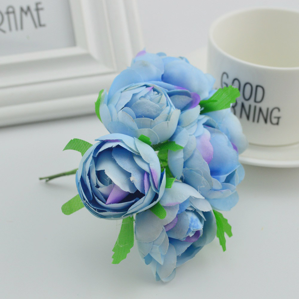 6pcs Silk roses tea bud bride bouquet wedding flower fake pompon diy gifts box wreath Artificial flowers for home decoration