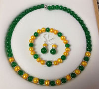 Hot new fashion style 8 8.5MM Golden Akoya Cultured Pearl/Green jades chalcedony necklace Bracelet Earrings Set BV221